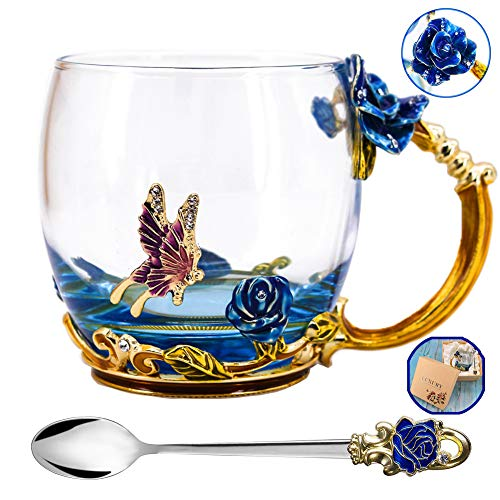 Tea Cup, Mother's Day Gifts, Coffee Mug, Clear Glass Cups with Spoon Set, Lead Free Handmade Butterfly, Unique Rose Flower Enamel Design, Birthday Decoration Wedding Gift Ideas (Blue -
