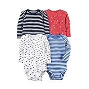 Carter's Baby Boys 4-pack Long-sleeve Bodysuits (9 months, sail)