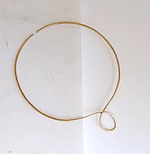 Silver Gold Copper Metal O Circle Choker Neck Cuff Collar Necklace Bridesmaid 7th 8th 25th Anniversary Christmas Gift for Her (Hand Forged Circle Necklace)