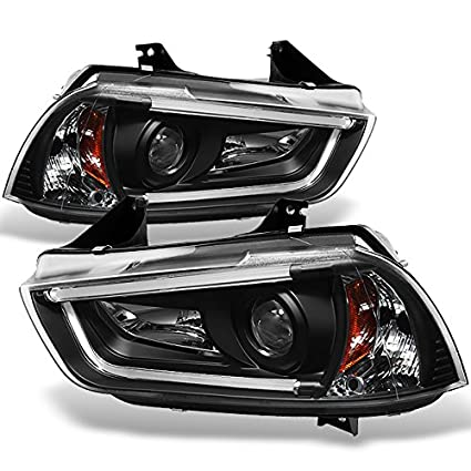For 11-14 Dodge Charger Black Bezel LED Daytime Running Lights Strip Tube  Design [Factory HID Type] Projector Headlights