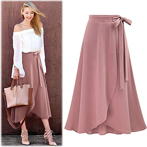 (Women Plus Size Long Skirt Lady High Waist Irregular Hem Split Bandage Solid Ankle-Length Skirt Fashion Casual Comfort Dress)