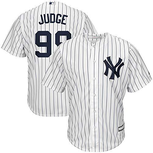 (Men's New York Yankees Aaron Judge Home White Navy Cool Base Player Jersey XXL )