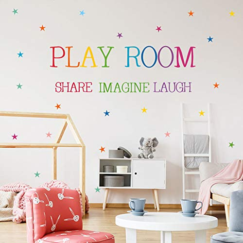Youyouyu Playroom Share Imagine Laugh Wall Art - Colorful Inspirational Lettering Quote with Stars Wall Decal Sticker for Nursery Classroom Playroom Decoration(1#Play Room) (Kids Playroom Wall Decals)