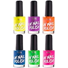UV Glow Blacklight Nail Polish - 6 Color Variety Pack, 13ml – Day or Night Stage, Clubbing or Costume Makeup by Splashes & Spills