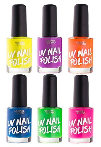 (UV Glow Blacklight Nail Polish - 6 Color Variety Pack, 13ml – Day or Night Stage, Clubbing or Costume Makeup by Splashes & Spills)