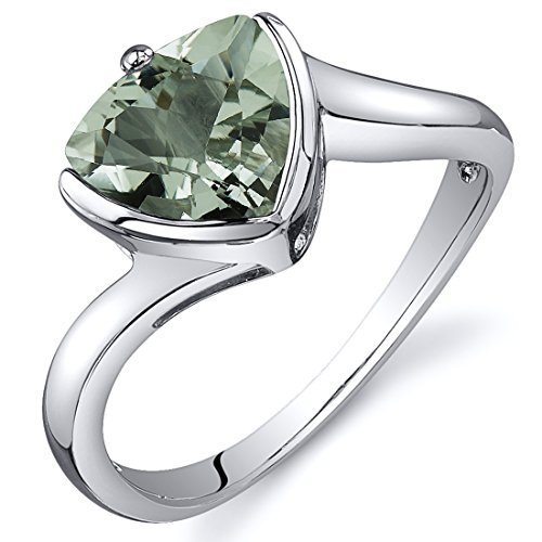 Trillion Cut Bypass Style 1.50 carats Green Amethyst Ring in Sterling Silver Rhodium Nickel Finish Size 8
