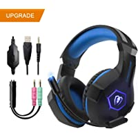 Gaming Headset for PS4 Xbox One,TUOWEI Gaming Headset 3.5mm 3D Stereo Sound Over-Ear Noise Reduction Gaming Headphone with Mic & LED Lighting for Nintendo Switch PC Laptop Mac Tablet/Phone
