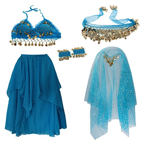 Bollywood Themed Costumes (Dovewill Kids Girls Belly Dance Costume Coin Tassel Halter Top Skirt Hip Scarf Veil Set - Blue, M)