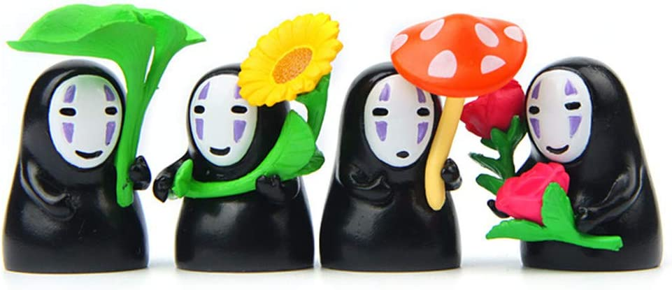 Animation Figures Set, 4Pcs Cute Anime No Face Man Figures DIY Micro Landscape Miniature Fairy Gardening Decoration Ornaments Doll Kids Toys
