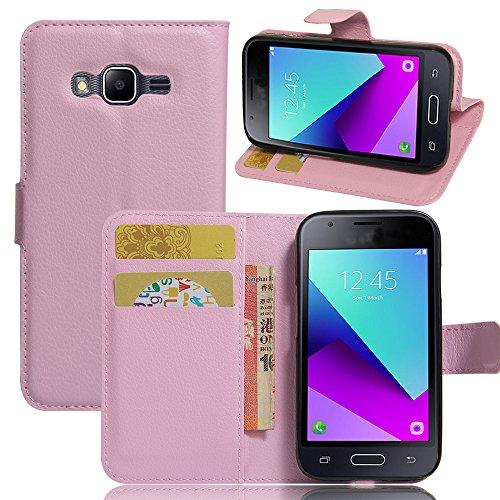 Funda Samsung Galaxy J1 Mini Prime,Manyip Caja del teléfono del cuero,Protector de Pantalla de Slim Case Estilo Billetera con Ranuras para Tarjetas, Soporte Plegable, Cierre Magnético(JFC8-3) F