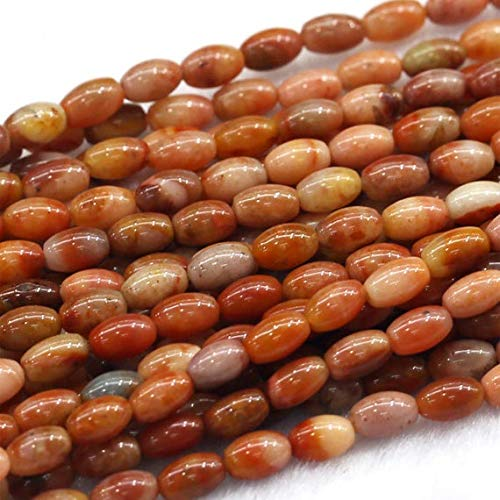 GemAbyss Beads Gemstone 1 Strands Natural Golden Jasper Yellow Jade Rice Shape Loose Small Oval Beads 4x6mm 15 Inch Long 03820 ()