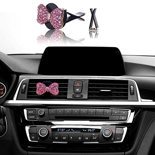 Bling Car Decor Auto Air Vent Clip Charms, Crystal Interior Car Accessory, Auto Decoration Charms, Car Bling Accessories (Pink Bow)