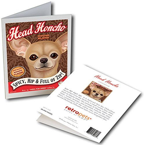 Retro Pets Greeting Card - Head Honcho Chihuahua - Blank Inside - Includes Envelope