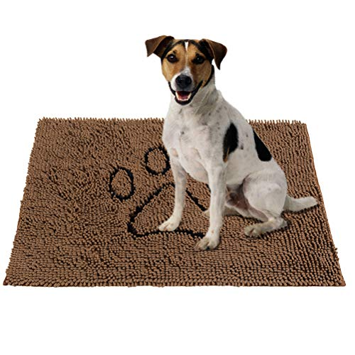 PUPTECK Super Absorbent Dirty Dog Doormat – Non Skid Microfiber Pet Door Runner Mat Brown L