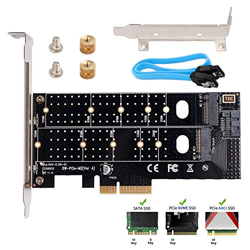 QNINE Dual M.2 PCIe Adapter, M.2 NVME SSD (M Key) or M.2 SATA SSD (B Key) 22110 2280 2260 2242 2230 to PCI-e 3.0 x4 Host Controller Expansion Card with ()