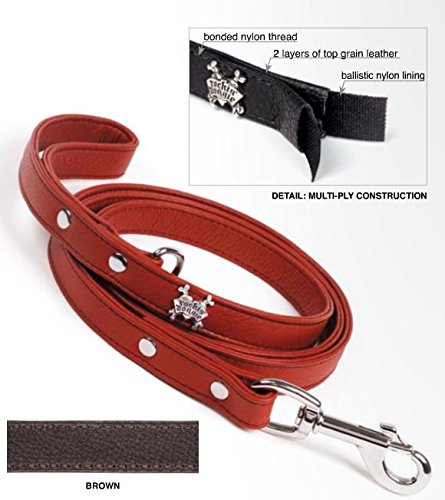 Rockin Doggie Plain Leather Dog Leash, 1/2 by 5-Feet, Brown