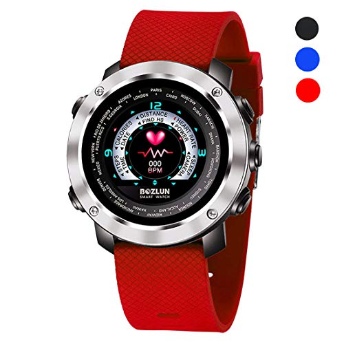 Smart Watch,1.4 inch LED Colorful Display,Wireless Charging,Bluetooth Smartwatch Wrist Watch with Camera Waterproof IP70 Sports Fitness Tracker for Android iPhone iOS Phones Samsung(Red) by BOZLUN