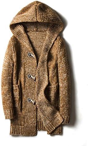 超大きいサイズ カーディガン メンズ ニットセーター 編み物 フード付き Vネック 厚手 柔らかい フリース おしゃれ ビジネス オフィス スクール 春秋 カーキ レッド グレー