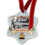 Add Your Own Custom Name, Floral Border What Happens at Bingo Christmas Ornament NEONBLOND