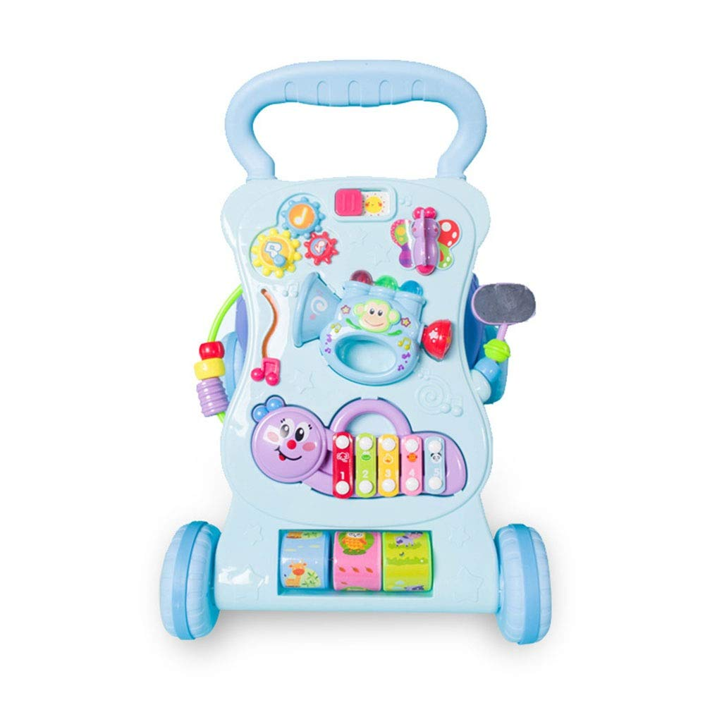 Ybriefbag-Toys Baby Three-in-one Activity Walker Children's Educational Early Education Multifunctional Anti-Rollover Music Walker Baby Baby 0-2 Years Old Toddler Cart (Color : Blue, Size : 474434CM)