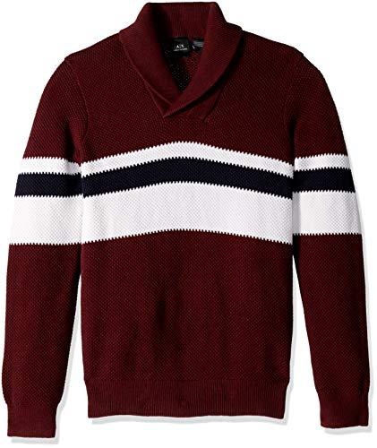 A|X Armani Exchange Men's Pullover Fantasy Stitch Stripe Sweater, Chocolate Truffle, S ()