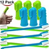 Jalousie 12 Pack Dog dog toothbrush Teeth Tooth Brush 6 Silicone Finger Brush and 6 Dual Headed Cleaning Brushes for Dental Care Dental Health