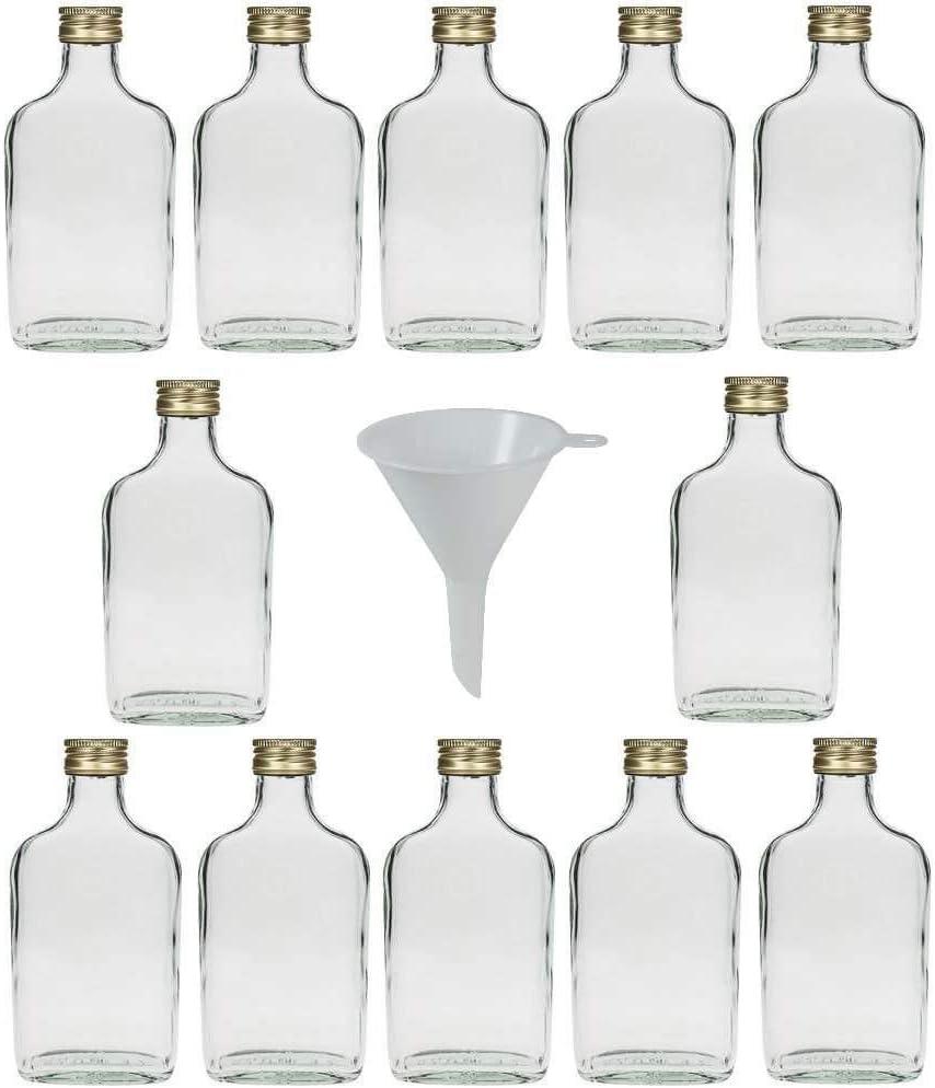 Viva-artículos de Uso doméstico - 12 Botellas de Cristal 200 ml con tapón de Rosca para llenar Incluye Embudo diámetro 7 cm