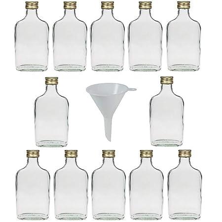 20 Mini frascos de Vidrio 20 ml con tap/ón de Rosca para llenar Incluye Embudo di/ámetro 5 cm Viva-art/ículos de Uso dom/éstico