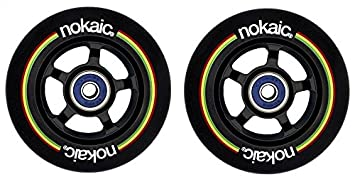 Pack de dos ruedas NOKAIC para patinetes scooters de 100mm núcleo aluminio NEGRO y goma negra