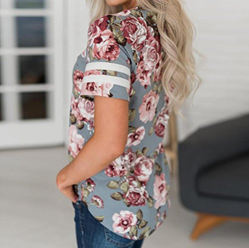 7b17bf57 70%OFF Gyoume Women Floral Printed Tops Summer Short Sleeved Blouse O-Neck T