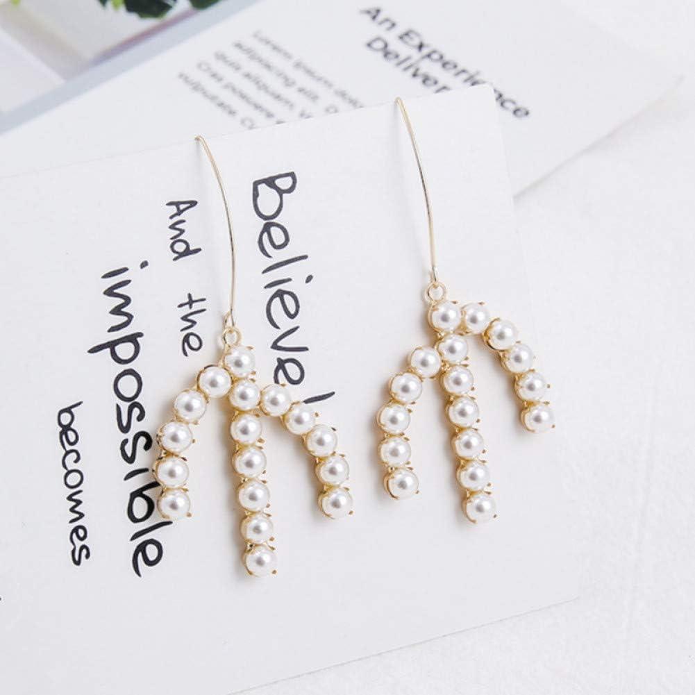 YCEOT Forma de Garra Rhinestone Brillante Gancho de Perlas simulado Cuelga los Pendientes para Las Mujeres Personalidad Moda Lady Girls Jewelry