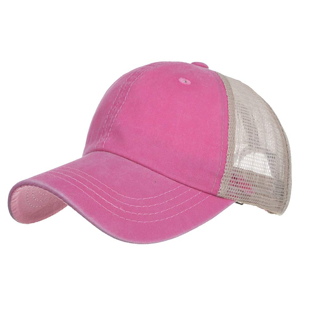 Outdoor Sport Hats Unisex Summer Baseball Cap Washed Cotton Hat Casual Cap Pink