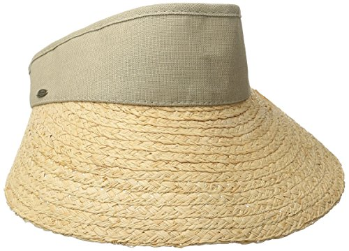 Scala Women's Raffia Visor with Dyed Cotton Crown, Taupe, One Size -