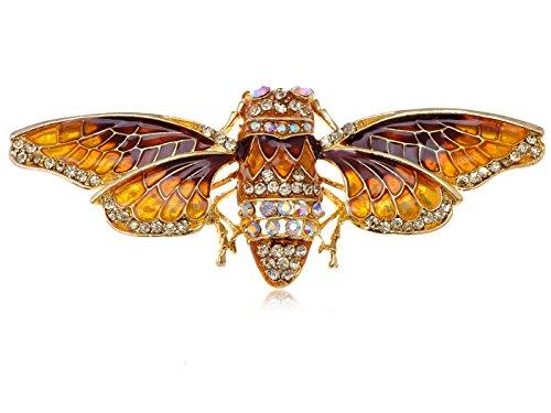 Alilang Gold Tone Iridescent Crystal Colored Rhinestone Insect Moth Brooch Pin