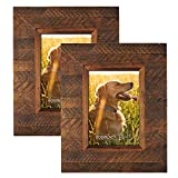 EosGlac Wooden Picture Frame 5×7 inch (2pk), Wood Plank Design with Rustic Brown Finish, Wall Mounting or Tabletop Display, HandCrafted Photo Frame For Sale