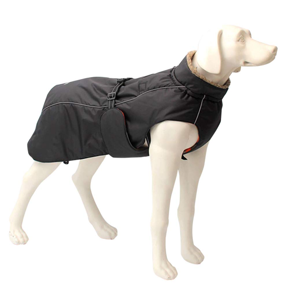 3XL Pet warm waterproof raincoat, large dog jacket, peach skin fabric, breathable lining, reflective [black, multisize],3XL