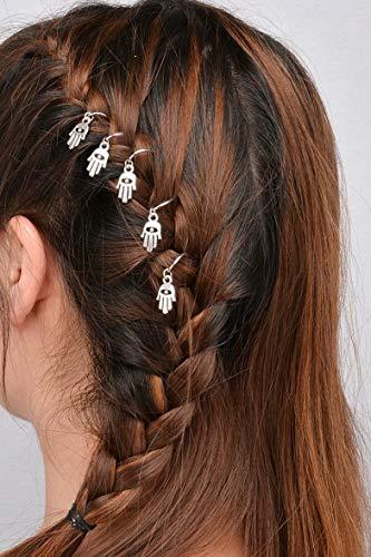 Campton 5/10Pcs Punk Women Hip Hop Braid Hand Shell Star Ring Hair Clips Accessory   Model RNG - 12176   5Pcs Silver Bergamot ()