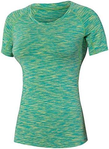 女性のスポーツ速乾性Tシャツ夏のフィットネスストレッチタイツヨガランニングカモフラージュトップランニング半袖Tシャツ