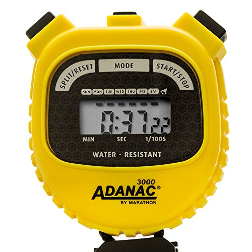 MARATHON Adanac 3000 Digital Sports Stopwatch Timer with Extra Large Display and Buttons, Water Resistant- Yellow (Mechanical Stopwatch)