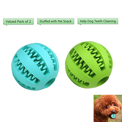 Bojafa Best Dog Teething Toys Balls Durable Dog IQ Puzzle Chew Toys for Puppy Small Large Dog Teeth Cleaning/Chewing/Playing/Treat Dispensing (2 Pack)