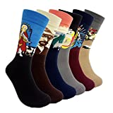 Famous Painting Art Printed Mens Dress Socks - HSELL Crazy Patterned Fun Crew Cotton Socks 6 Pack (C1)