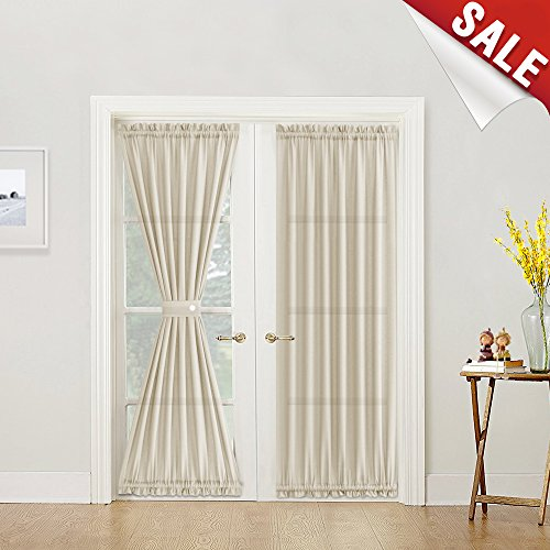 (Semi Sheer French Door Panels Privacy Casual Weave Textured French Door Curtains 72 inch Length Tieback Included, Two Panels, Beige)