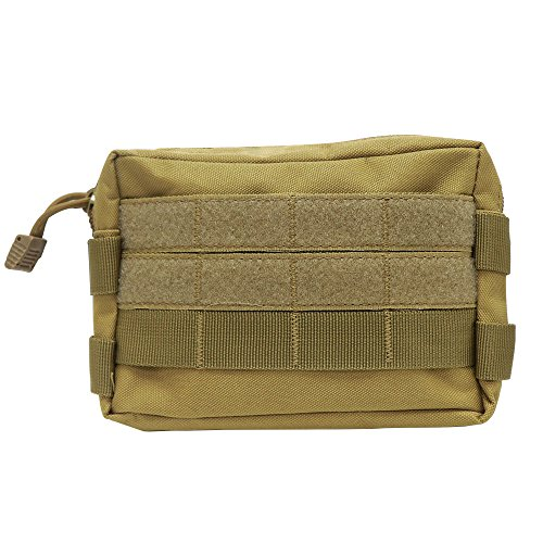 Pistol Extra Large (MOLLE Utility Pouch - Multipurpose Compact EDC Bag - Tactical Big Backpack Attachments Nylon Hanging Waist Bag Hiking Riding Camping Outdoor Sports (7''×5.5'' Khaki))