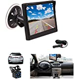 Camecho Vehicle Car Backup Camera System 4.3 Inch Monitor + 8 LED Rear View Camera, 20ft Cable, with Cigarette Lighter Quick Install for 12V Universal Vehicles