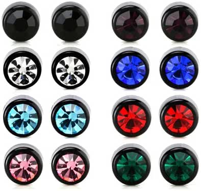 8 Pairs Assorted Colors Rhinestone Crystal Bling Bling Stud Earrings Stainless Steel Pin