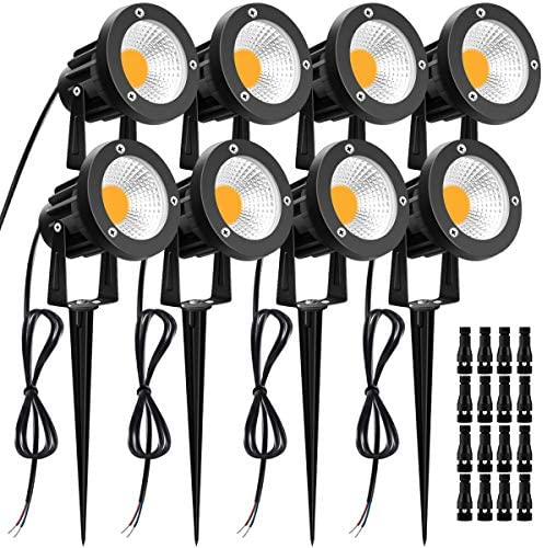 Landscape Lighting 12W LUYE 8pack 12V 24V Low Voltage Lights with Fastlock Connectors Outdoor IP66 Waterproof Garden Pathway Lights Warm White Wall Tree Flag Spotlights with Stakes