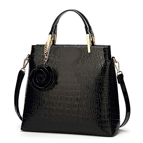 Women Tote Bag Shoulder Purse Patent Leather HandBag Designer Crocodile Rose Top Handle Bag Office Satchel Totes, Black