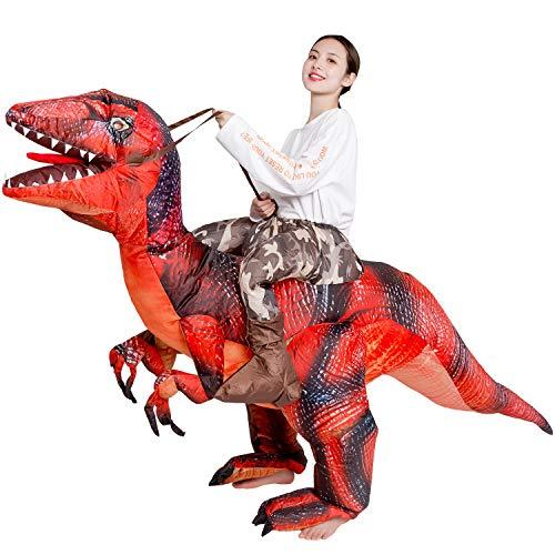 Vantina Adults Velociraptor Inflatable Dinosaur Costume T-Rex Fancy Dress Halloween Suit
