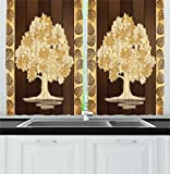 Ambesonne Kitchen Decor Collection, Asian Style Art Tree of Life Leaves Chinese Antique Wooden Background Image Paint Effect, Window Treatments for Kitchen Curtains 2 Panels, 55X39 Inches, Brown Cream