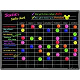 "Magnetic Refrigerator Chalkboard Dry Erase Chore Responsibility Activity Reward Star Exercise Diet Nutrition Chart Children Kids Teens Mom Teacher in Home Kitchen Classroom 12"" X 16"" Black Fluorescent"